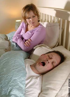 Severe snoring can disturb the snorer's own sleep as well as that of their sleeping partner (image from The Health Success Site)