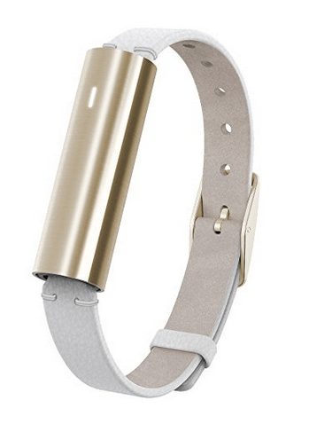 Mistfit Ray Stainless Steel Gold and White Leather Sport Band